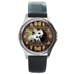Panda Love Round Leather Watch (silver Rim)