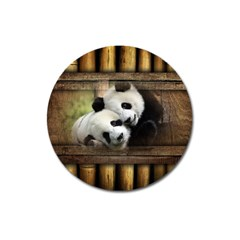 Panda Love Magnet 3  (round) by TheWowFactor