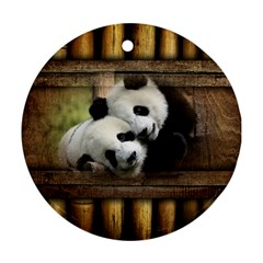 Panda Love Round Ornament (two Sides) by TheWowFactor