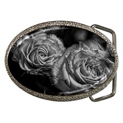 Black And White Tea Roses Belt Buckle (oval)