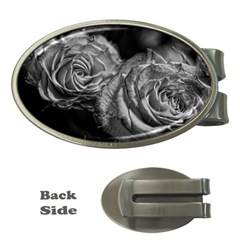Black And White Tea Roses Money Clip (oval) by bloomingvinedesign