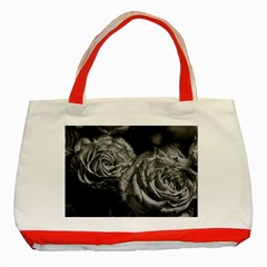 Black And White Tea Roses Classic Tote Bag (red) by bloomingvinedesign