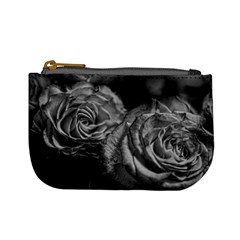 Black and White Tea Roses Coin Change Purse by bloomingvinedesign