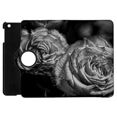 Black And White Tea Roses Apple Ipad Mini Flip 360 Case by bloomingvinedesign