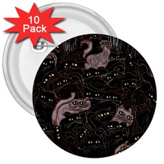 Black Cats Yellow Eyes 3  Button (10 Pack) by bloomingvinedesign