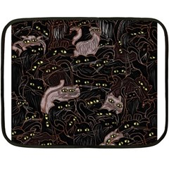 Black Cats Yellow Eyes Mini Fleece Blanket (two Sided) by bloomingvinedesign