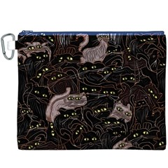 Black Cats Yellow Eyes Canvas Cosmetic Bag (XXXL) by bloomingvinedesign