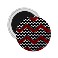 Black White Red Chevrons 2 25  Button Magnet by bloomingvinedesign