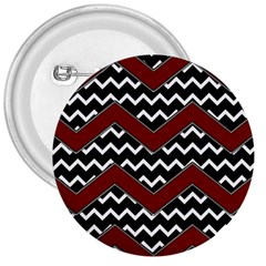 Black White Red Chevrons 3  Button by bloomingvinedesign