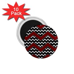 Black White Red Chevrons 1 75  Button Magnet (10 Pack) by bloomingvinedesign