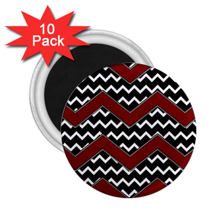 Black White Red Chevrons 2.25  Button Magnet (10 pack)