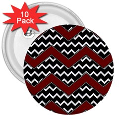 Black White Red Chevrons 3  Button (10 Pack) by bloomingvinedesign