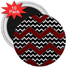 Black White Red Chevrons 3  Button Magnet (10 Pack) by bloomingvinedesign