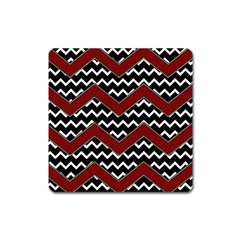 Black White Red Chevrons Magnet (square) by bloomingvinedesign