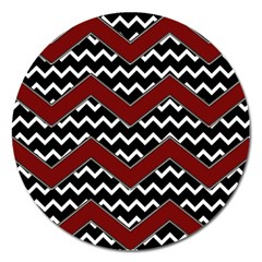 Black White Red Chevrons Magnet 5  (round) by bloomingvinedesign