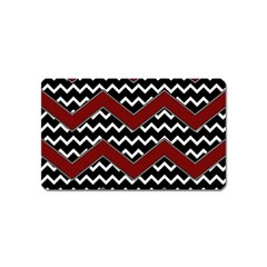Black White Red Chevrons Magnet (name Card) by bloomingvinedesign