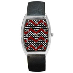 Black White Red Chevrons Tonneau Leather Watch by bloomingvinedesign