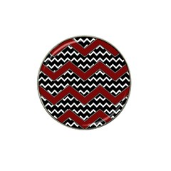 Black White Red Chevrons Golf Ball Marker 4 Pack (for Hat Clip) by bloomingvinedesign
