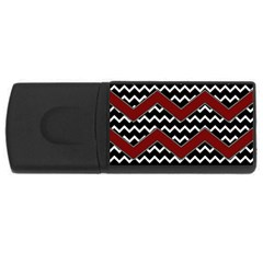 Black White Red Chevrons 4gb Usb Flash Drive (rectangle) by bloomingvinedesign