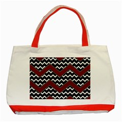 Black White Red Chevrons Classic Tote Bag (red) by bloomingvinedesign