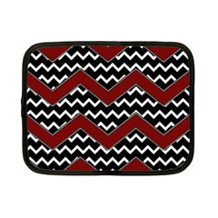 Black White Red Chevrons Netbook Sleeve (small) by bloomingvinedesign