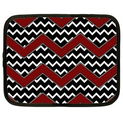 Black White Red Chevrons Netbook Sleeve (large) by bloomingvinedesign