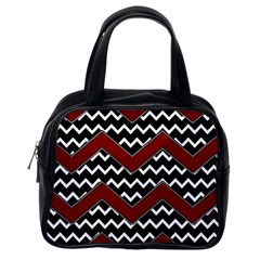 Black White Red Chevrons Classic Handbag (one Side) by bloomingvinedesign