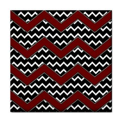 Black White Red Chevrons Face Towel by bloomingvinedesign