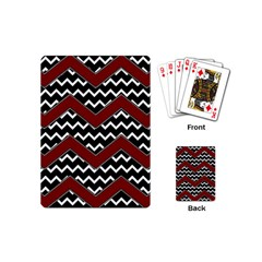 Black White Red Chevrons Playing Cards (mini) by bloomingvinedesign