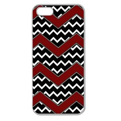 Black White Red Chevrons Apple Seamless Iphone 5 Case (clear) by bloomingvinedesign