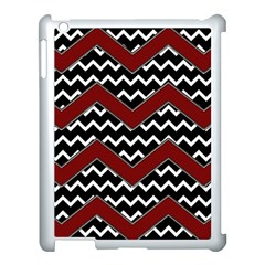 Black White Red Chevrons Apple Ipad 3/4 Case (white) by bloomingvinedesign