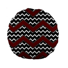 Black White Red Chevrons 15  Premium Round Cushion  by bloomingvinedesign