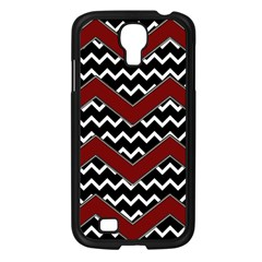 Black White Red Chevrons Samsung Galaxy S4 I9500/ I9505 Case (black) by bloomingvinedesign