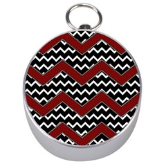 Black White Red Chevrons Silver Compass by bloomingvinedesign