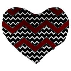 Black White Red Chevrons 19  Premium Flano Heart Shape Cushion