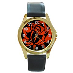 Red Rose Etching On Black Round Leather Watch (gold Rim)  by StuffOrSomething