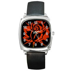 Red Rose Etching On Black Square Leather Watch by StuffOrSomething