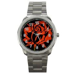 Red Rose Etching On Black Sport Metal Watch by StuffOrSomething