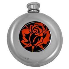 Red Rose Etching On Black Hip Flask (round) by StuffOrSomething