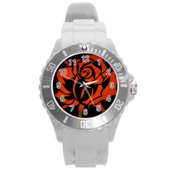 Red Rose Etching On Black Plastic Sport Watch (large) by StuffOrSomething