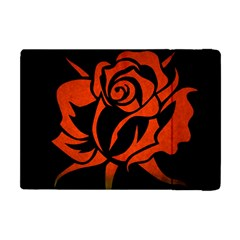Red Rose Etching On Black Apple Ipad Mini Flip Case by StuffOrSomething