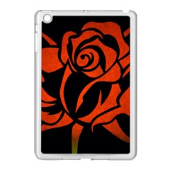 Red Rose Etching On Black Apple Ipad Mini Case (white) by StuffOrSomething