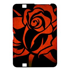 Red Rose Etching On Black Kindle Fire Hd 8 9  Hardshell Case by StuffOrSomething