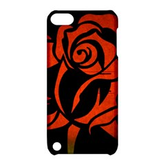 Red Rose Etching On Black Apple Ipod Touch 5 Hardshell Case With Stand by StuffOrSomething