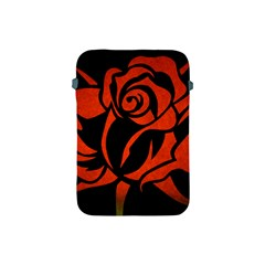 Red Rose Etching On Black Apple Ipad Mini Protective Sleeve by StuffOrSomething