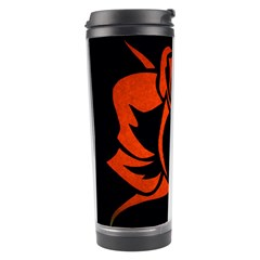 Red Rose Etching On Black Travel Tumbler