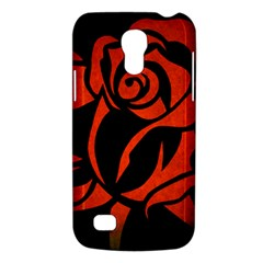Red Rose Etching On Black Samsung Galaxy S4 Mini (gt I9190) Hardshell Case  by StuffOrSomething