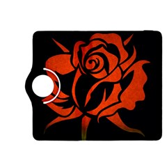 Red Rose Etching On Black Kindle Fire Hdx 8 9  Flip 360 Case by StuffOrSomething
