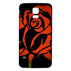 Red Rose Etching On Black Samsung Galaxy S5 Back Case (white) by StuffOrSomething