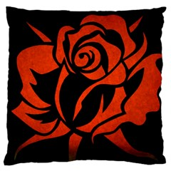 Red Rose Etching On Black Large Flano Cushion Case (two Sides) by StuffOrSomething